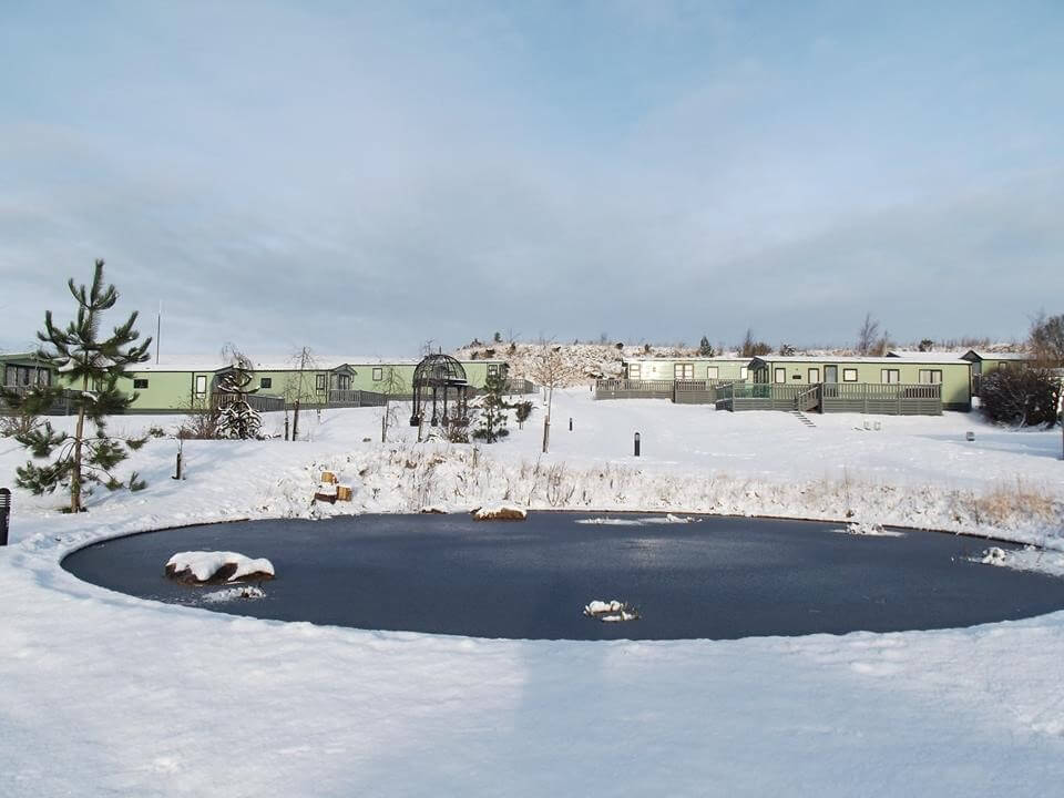 hawthorns pond frozen over
