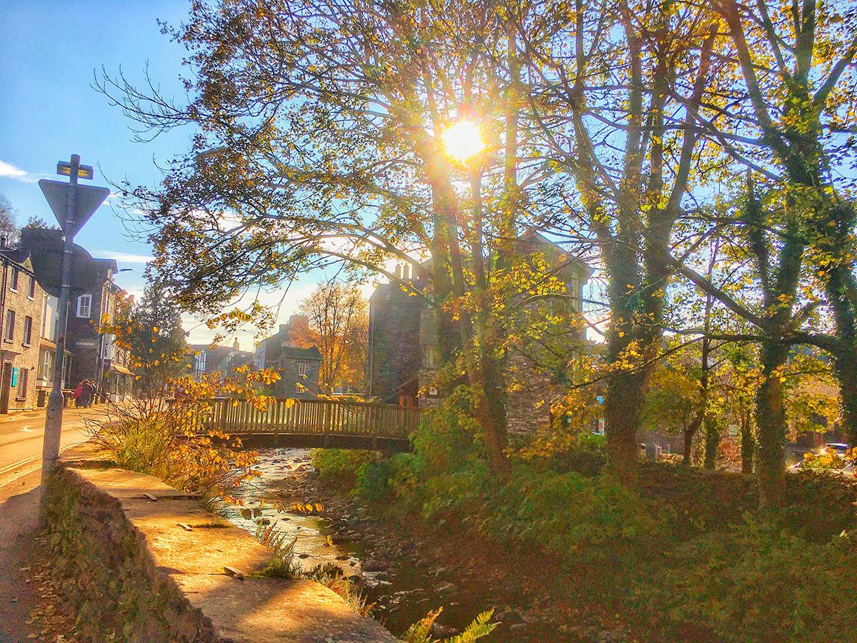 sun shining at Ambleside, Lake District